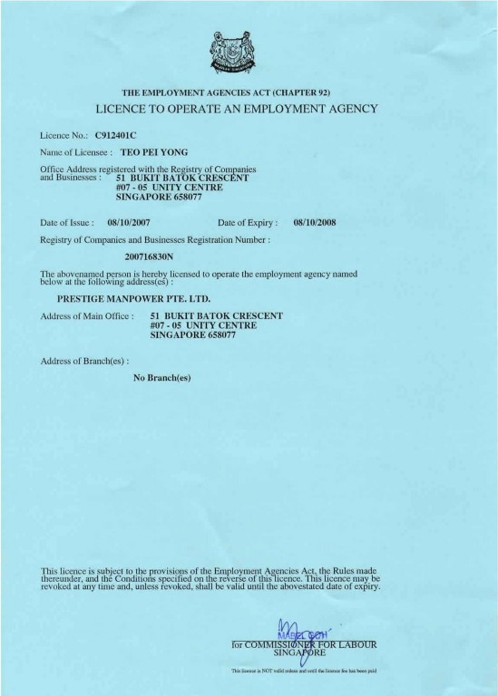 MOM Employment Agency Licence